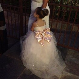 Wholesale Multi Color Beaded Pageant Dresses - 2015 Lovely Bridal Flower Girl Dresses Spaghetti Straps Tulle Beaded Waistband Sweep Train Sparkling Little Girls Pageant Dresses Wedding