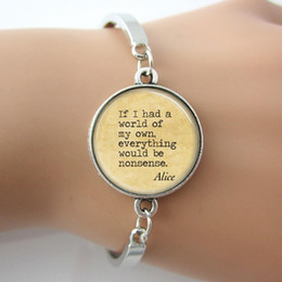 Wholesale Quotes Books - Glass dome picture,Alice In Wonderland bracelet,Nonsense Fairy Tales,Book Quote Literary Art Pendant bangle for women gift