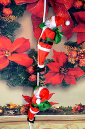 Wholesale People Window - 2 people climbing rope Santa Claus 2017 selling 25CM holiday decorations XMAS wall window ornaments doll