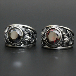Wholesale Dragon Boys Rings - 1pc New Arrival Flying Dragon Huge Stone Ruby Ring 316L Stainless Steel Man Boy Fashion Personal Design Cool Ring