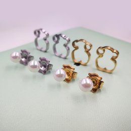 Wholesale Coloured Earrings - Wholesale 5pcs of New Stainless Steel Pearl stud Earrings Hand Make For Women Fashion Limited Edition 2 Colours Never Fade El oso pendientes