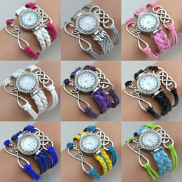 Wholesale Mixed Infinity Charms Bracelet - Hot New Infinity Watches Weave Bracelet Charms Watch Lady Wrap Watch Love Leather Wrist Watch Mix Color Drop Free Shipping
