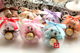 Wholesale Crystal Favor Baby - 10 CM Clear Crystal Ball candy box TEDDY BEAR Round wedding gift boxes sweet box Ribbon bowknot candy Wedding favors baby shower decoration