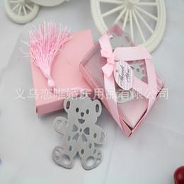 Caja de regalo azul / rosa + plata Señal de oso de metal lindo con borla para libros La boda del bebé favores de la boda regalos regalo de Navidad día 1203 # 03 desde fabricantes