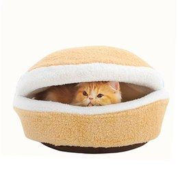 Wholesale Blanket Nest - S5Q New Pretty Soft Cats Bed Hiding Litter Burger Bun Disassembly Windproof Nest AAAFLR