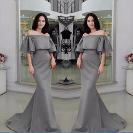 Wholesale Cheap Mermaid Evening Gowns - Gray Half Sleeves Evening Gowns Sexy Off The Shoulder Satin Mermaid Prom Dresses Satin Sweep Train Cheap Formal Party Dress Custom Made