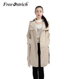Wholesale Ladies Coat Zipper Hood - Wholesale- Free Ostrich 2017 Autumn Women's Trench Coat Long Outerwear Loose Clothes for Lady Hood Quality Drop Shipping Aug22