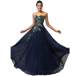 Wholesale Strapless Ball Gowns Prom - Grace Karin Strapless Peacock Satin Chiffon Evening Dress Long Pattern Ball Gown Prom Party Dress CL6168