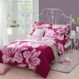 Wholesale Quilt Bedcover - Purple lily flowers bedding sets 4pcs duvet quilt bed cover bedcover for king queen size comforters bedspreads bed linens sheets