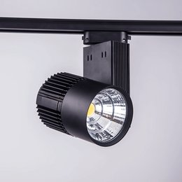 Wholesale Led Ceiling Track - LED track light 30W COB high lumens Led Ceiling Spot Lights for shopping mall lighting lamp Warm White AC 85-265V CE Black White