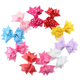 Wholesale Bows For Hair Diy - 2017 New Dot Barrettes 10 Pcs Lot Bowknot Hairband With Alligtor Clips Boutique Bows Hair Accessories For Girls Diy Grosgrain Hair Clip
