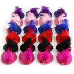 Wholesale Wholesale Costume Accessories - 24Pcs Lot Rose Top Cap Lace Feather Hair Hat Clip Fashion Women Mini Hair Cap Clip Stylish Fascinator Costume Accessory Free Shipping