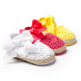 Wholesale Toddler Girls Crochet Shoes - Baby shoes fashion New Hot baby soft shoes baby bows woven soft comfortable toddler shoes kids first shoes Baby shoes E0615