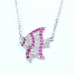 Wholesale Goldfish Set - S925 Sterling Silver Diamond Pendant Chain set Niannian sell cute adorable little goldfish necklace jewelry