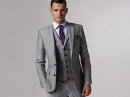Wholesale Cheap Wool Pants - Top Quality Slim Fit 2015 Groom Tuxedos Light Grey Side Slit Groomsmen Mens Wedding Prom Suits Cheap Custom Made (Jacket+Pants+Tie+Vest)
