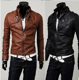 Wholesale Short Brown Leather Jackets - Free shipping NEW HOT Fashion Men's leather motorcycle coats jackets washed mens leather coat