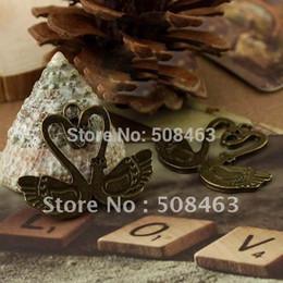 Wholesale Bronze Goose - Ship Free ! 200pc lot 39x28mm high quality antique bronze Goose kiss charms pendants