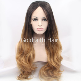 Wholesale Blond Wavy Wigs - Brown Blond Two Tone Synthetic Hair Wig Long Wavy Ombre Lace Front Wig For White Women