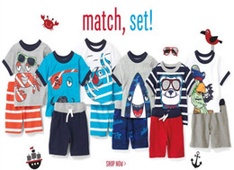 Wholesale Pirate Shirts - boys shorts sets 2015 boys pirate clothing baby boy summer outfits kids clothing boys shirts sets stripe shorts set free shipping in stock