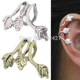 Wholesale Ear Cuff Antique Earrings Silver - New Europe Style Fashion Antique Silver Bronze Plated Leaf Leaves Ear Cuff Clip Earrings Jewelry Accessories Hot