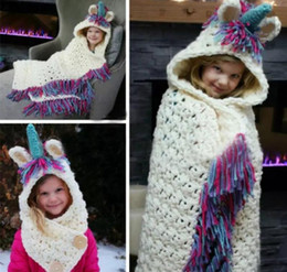 Wholesale Baby Girls Bedding - Kids Unicorn Crochet Blankets Boys Girls Living Room Sofa Blanket With Hats Baby Toddler Tassel Warm Bedding Wraps 50pcs OOA3612