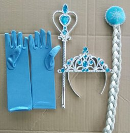 Wholesale Wholesale Big Hair Wigs - Frozen Crown Princess Elsa Frozen girls Hair Accessories brand Tiara Cosplay 1Sets=Crown + Wig + Magic Wand + Glove Christmas Party Supplies