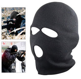Wholesale neck beanie - New Black Balaclava SAS Style 3 Hole Mask Neck Warmer Paintball Fishing Ski Hat