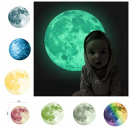 Wholesale Planets Wall Decals - 30cm Planet Wall Decals Luminous Wall Stickers Glow In The Darkness Earth Decals For Kids Rooms Wall Decoration sticker KKA3467