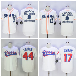 Wholesale Men News - Men's stitched The BASEketball Beers Movie #17 Doug Remer 44 Joe COOP Cooper Button Down Jersey 3 12# Bad news White Button Baseball Jerseys