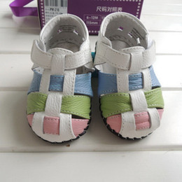 Wholesale Baby Girl Shoes Rubber Soles - High Quality Genuine Leather Toddler Plaid Sandals Soft Rubber Sole Baby Girls Skid Shoes Infant Walking Shoes In Stock KS81205-139