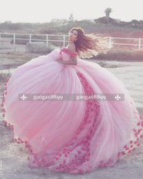 2019 vestido princesa saudí 2019 Saudi Ahamad Pink 3D Flora Appliques Vestido de fiesta Vestidos de quinceañera Princess Prom Dresses Custom Made vestido princesa saudí baratos