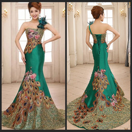 Wholesale Green Peacock Prom Dresses - Gorgeous One Shoulder Green Mermaid Evening Dresses Peacock Pattern Backless Prom Gowns For Woman's Formal Occasion Dresses With Feathers