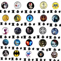 Wholesale Ear Plug Skull - Mi4-16mm 10 Design Logo Body Jewelry 160pcs  lot Acrylic Skull Anchor Flesh Tunnel Ear Expander Piercing Plugs and Tunnels