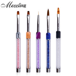 Wholesale Nylon Sculpture - Wholesale- New 1Pcs Rhinestones Marble Handle Nylon Hair Gradient Nail Art Brush 3d Pen For UV Gel Polish Drawing Liner Sculpture Nail Tool