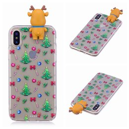 Wholesale Bow Phone Cases - For iPhone X 8 8+ Hot!! Papa Elk Christmas Tree Bow Pattern Rubber Soft TPU Phone Case For Samsung Galaxy Note8 S8 S8+