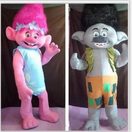 Wholesale Mascot Outfits - 2018 High quality Trolls Mascot Costume poppy branch Parade Quality Clowns Halloween party activity Fancy Outfit