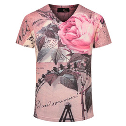 Wholesale Men Undershirt Short Sleeves - 2016 Summer Style Men Printed t-shirt Fashion Design Pink Mens t shirt Male Top Tees Man Casual Slim Fit T-shirt Undershirts