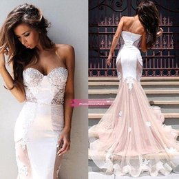 Wholesale Satin Beaded Trumpet - Sexy Blush Mermaid Tulle Prom Dresses 2015 Sweetheart Appliques Beads Satin Backless Court Train Reception Wedding Dresses BO7243