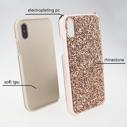 Wholesale Wholesale Champagne Diamonds - Glitter bling 2 in 1 Luxury diamond rhinestone glitter back cover phone case For iPhone X 8 7 5 6 6s plus Samsung s8 note 8 cases