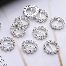 Wholesale Furniture Post - 100pcs lot 10mm Bar 16mm Round Crystal Clear Silver Plated Rhinestone Ribbon Buckle Chair Slider Wedding Supplies