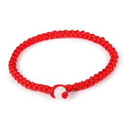 Wholesale Red Chinese Charm - Wholesale-Chinese Red Rope Charm chain Lucky Bracelets Bangle Handmade Women Men Fashion Jewelry For Unisex Cheap Price