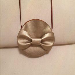 Wholesale girls handmade purses - 2016 Children Crossbody Bow Bag for Girls Cool Gold PU Leather Kids Fringe Bag Boy Bow Messenger Bags Handmade Small Bag Coin Purse