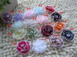 Wholesale Satin Mesh Flowers Diy - 3cm DIY handmade ribbon satin tulle mesh flower, decorative tulle flower embellishment, double snow yarn chiffon tulle flowers