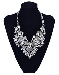 Wholesale emerald choker necklace - Famous brand luxury emerald clear crystal drops flower collar statement necklace for women fine jewelry