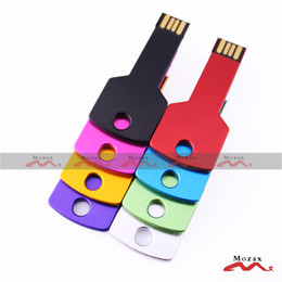 Wholesale Custom Metal Logo Wholesale - Small Storage 256MB 50 PCS Metal Key USB Drive Memory Flash Pendrive Stick Mixture Colors Suit for Custom Laser Engraved Logo