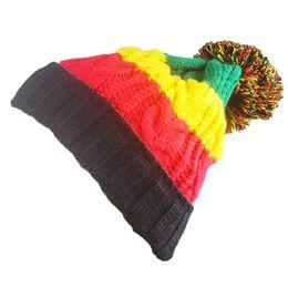 Wholesale Tie Dye Hair Ties - Curling Hemp Hats For Men And Women Flag Wool Knitted Beanie With Big Hair Ball Hedging Cap Popular 8 5jba B