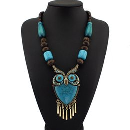 Wholesale Dress Style Jewelry - Fashion Tibetan Style Wood Chains Resins Big Owl Necklaces & Pendants Statement Jewelry Women Perfect Match For Dress N1272