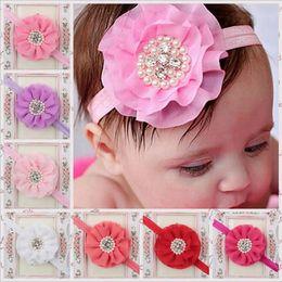 Wholesale Chiffon Ruffle Hair - Children Hair Accessories Baby Girls Large flower Headbands with Ruffled Chiffon Flower Fashion Pearl Elastic Hair Bands KHA84