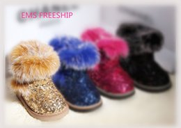 Wholesale Korean Kids Shoes - EMS FREESHIP 4 colors 21-25 5yards children kids sequins snow warm boots girls korean fur winter shoe fluffy rabbit baby shoes J102705