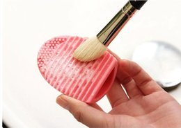 Wholesale Mint Brushes - Egg Cleaning Glove MakeUp Washing Brush Scrubber Board Cosmetic Brushegg Cosmetic Brush Egg Pink Purple Mint Green